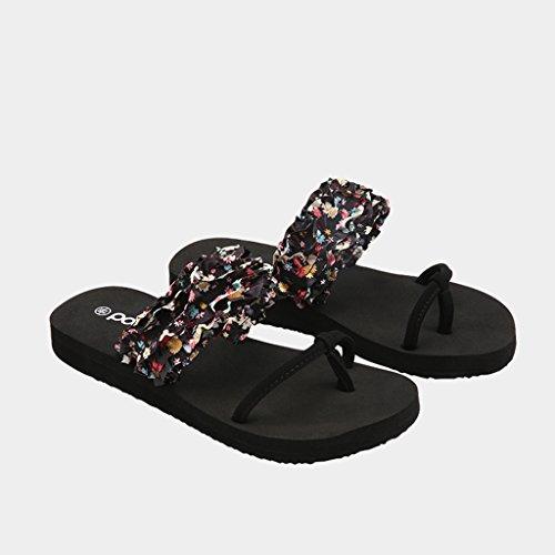 Femme Chaussures De Antidérapant Chaussures Tissu Sandales Plage Fleur Mode Noir Pantoufles Été Plates De Cv5Xxap