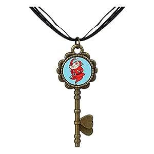 Chicforest Bronze Retro Style Happy Santa Claus Key to Her Heart Pendant