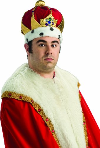 Rubie's Costume Deluxe Royal Kings Costume Crown, Red, One Size (King Costumes Adults)