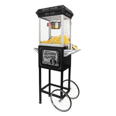FunTime Sideshow Popper 4-Ounce Hot Oil Popcorn Machine with Cart, Black/Silver by Funtime