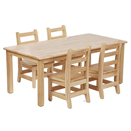 (ECR4Kids Hardwood Kids Table and Chair Set - 24 x 48 Inch Rectangle Table with Four 10 Inch Ladderback Chairs - Childrens Furniture for Playrooms, Preschools,)