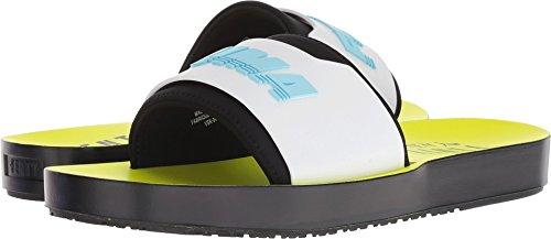PUMA Women's Fenty x Surf Slides, Black/White/Safety Yellow, 5.5 M US