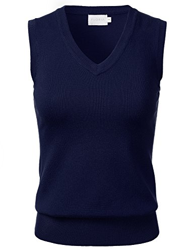 FLORIA Women Solid Clssic V-Neck Sleeveless Pullover Sweater Vest Top NAVY (Nylon Print Vest)