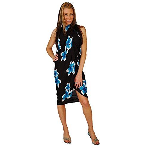 1mundo pareos Bañador para cover-up diseño de Plumeria–Pareo de las mujeres en su elección de color Turquoise/Black
