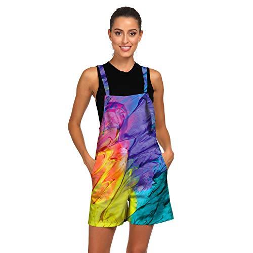 UreeUine Women's 3D Printed Casual Bib Suspenders Overall Shorts Romper M