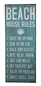 Ganz Beach House Rules Plaque Sign, Large, Iron