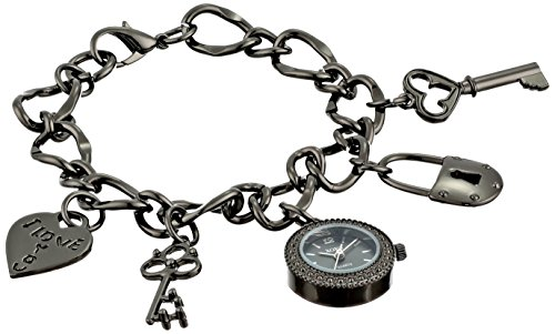 XOXO Women's XO7031 Black Dial Gun Metal Charm (Charm Watch Face)
