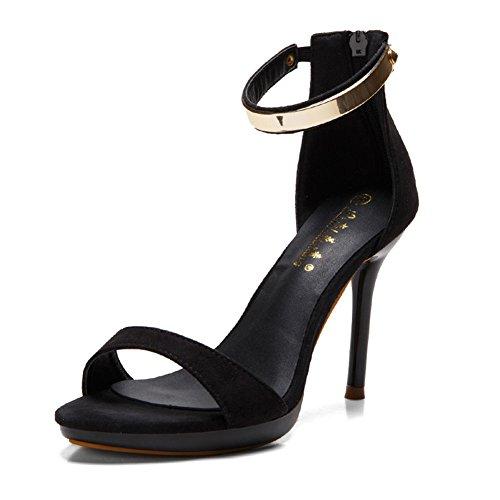 Chfso Femmes Haut Talon Aiguille Cheville Sangle Fermeture Éclair Sandales En Daim Chaussures Noir