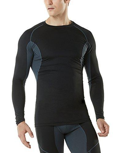 TM-MUD71-BKH_Large Tesla Men's Mesh-Side-Back Panel Long-Sleeved T-Shirt Compression Baselayer MUD71
