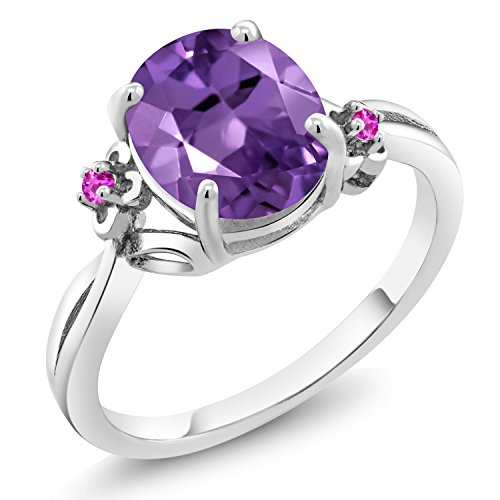 - 2.24 Ct Oval Purple Amethyst Pink Sapphire 925 Sterling Silver Ring