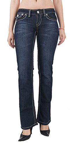 Fashion Jeans Boot Cut Embroidered Brown Stitching Button Flap Pockets (Button Flap Pocket Jean)