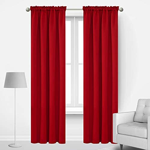 Deconovo Red Blackout Curtains Rod Pocket Drapes Window Curtains for Bedroom True Red 42W x 84L Inch 2 Panels 2