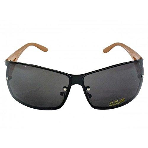 Occhiali da Sole Dunlop - Montatura Metallica Nera - 1181C3 / Home Shop Italia (Modello con montatura metallica nera, aste color cappuccino e lenti grigie)