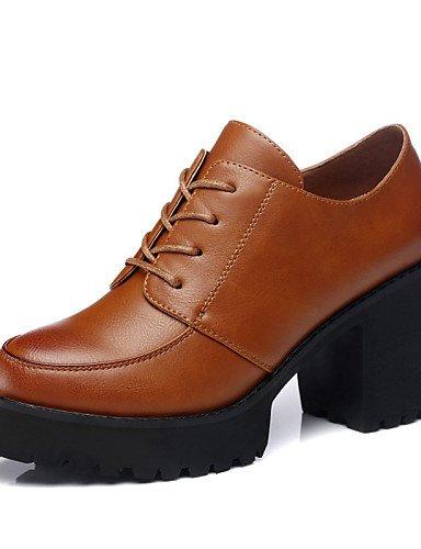 ZQ Zapatos de mujer - Tacón Robusto - Tacones / Plataforma - Oxfords - Oficina y Trabajo / Vestido / Casual - Semicuero - Negro / Marrón , 3in-3 3/4in-brown 3in3 3/4inbrown