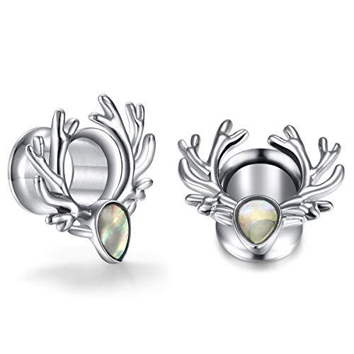 Angel King Silver Gemstone Ear Plug Tunnels Gauges Ear Expander Piercings Jewelry for Women and Women