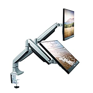 """TechOrbits Dual Monitor Mount Stand - SmartSWIVEL - Dual Computer Screen Desk Mount Arms - Full Motion Swivel Articulating Gas Springs - Universal Fit for 13"""" - 30"""" Screens Vesa Mount"""