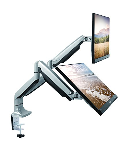 "TechOrbits Dual Monitor Mount Stand - SmartSWIVEL - Dual Computer Screen Desk Mount Arms - Full Motion Swivel Articulating Gas Springs - Universal Fit for 13"" - 30"" Screens Vesa Mount by TechOrbits"