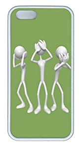 3D Silver People TPU Silicone Rubber iPhone 5 and iPhone 5S Case Cover - White