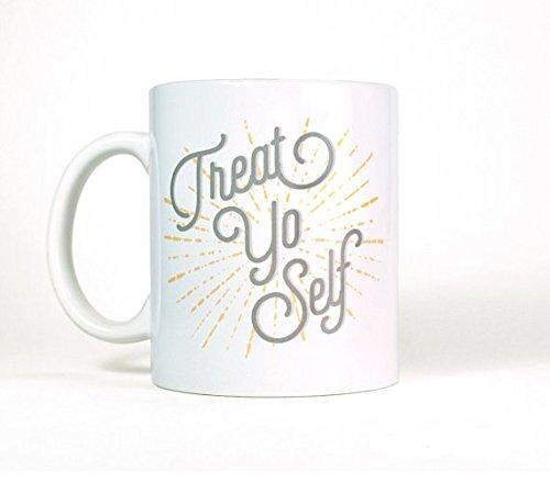 Unique Coffee Mug | Treat Yo Self Mug | Large Coffee Mug | Treat Yoself Coffee Mug | Ceramic Coffee Mug | Birthday (Papas And Beer Halloween Party)