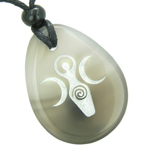 Triple Goddess Celtic Lady Blessing Good Luck Amulet Natural Agate Pendant Necklace