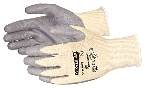 Superior S13KFGPU Dexterity Kevlar/Fiberglass String Knit Glove with Polyurethane Coated Palm, Work, Cut Resistant, 13 Gauge Thickness, Size 9 (Pack of 1 Pair) - Kevlar String Knit Glove