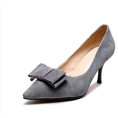 Heel Red Mujer Black Pump Stiletto Gray Heels Zapatos Basic Fall Red de Suede ZHZNVX qpgAZz