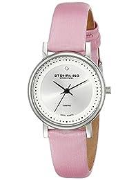Stuhrling Original Women's 734L.01 Classic Ascot Castorra Elite Swiss Quartz Ultra Slim Genuine Diamond Pink Leather Strap Watch