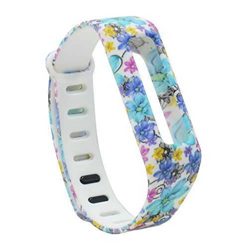 Flower Band Bangle (For Fitbit one ! Replacement Soft Silicone Wristband Watch Strap Band Bracelet For Fitbit One Sport/Activity/Sleep Tracker New Replacement Wristband Watch Band -Blue Flower)