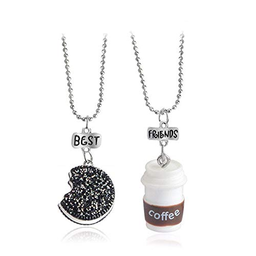 2 pieces/set of mini Oreo biscuits and coffee pendant necklace Best friend and lady men's BFF gift food friendship jewelry