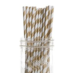 Dress My Cupcake 25-Pack Vintage Paper Straws, Gold Striped