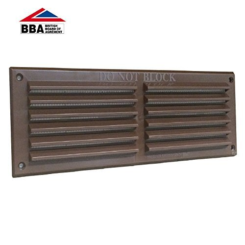 9' x 3' Brown Plastic Louvre Air Vent Grille with Removable Flyscreen Cover Rytons