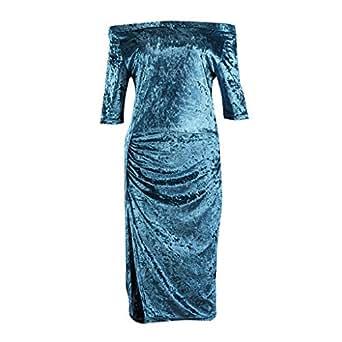 Elegant Ladies Off Shoulder Blue Red Split Autumn Dress