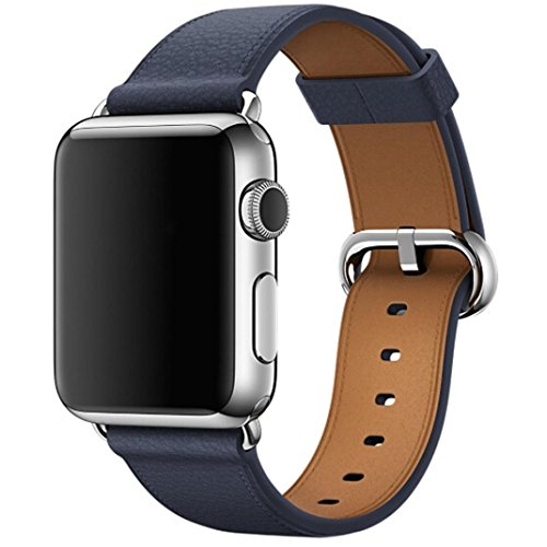 Price comparison product image SMYTShop for Apple Watch Band,Genuine Leather iwatch Strap Replacement Band with Stainless Metal Clasp for Apple Watch Series 3 Series 2 Series 1 (42MM Midnight blue)