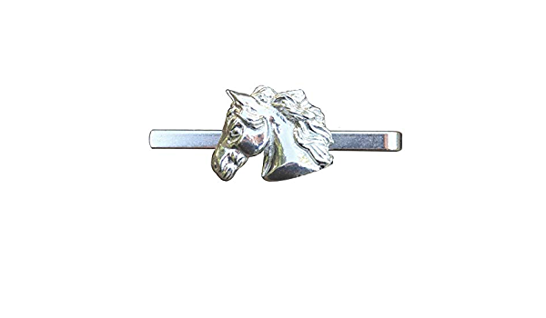 Tie clasp with chain Camargue horse Tieclip with a horse Tie clip with graphics Sketch style horse Men Jewelry with horses