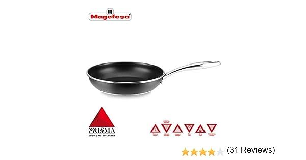 SARTÉN MAGEFESA PRISMA. Sartén fabricada en acero inoxidable 18/10, antiadherente triple capa, apta para todo tipo de cocina, INDUCCIÓN. Fácil Limpieza. Apto para lavavajillas y horno. (SARTEN, 28_cm): Amazon.es: Hogar