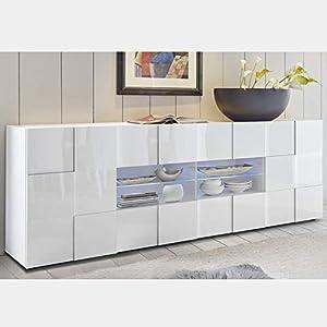 M-012 Buffet 2 Portes 4 tiroirs Blanc laqué Design SANDREA