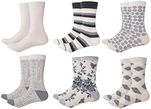 Mio Marino Women's Dress Crew Socks Casual Cotton 6 pk, 12 pk ()