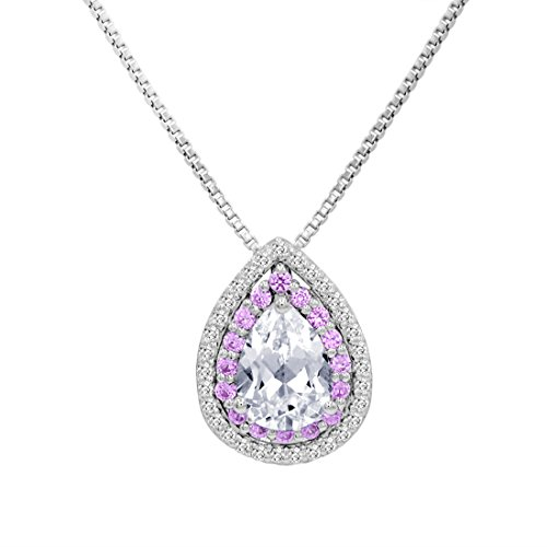 (Amanda Rose Collection Created Pink and White Sapphire Tear Drop Pendant in .925 Sterling)