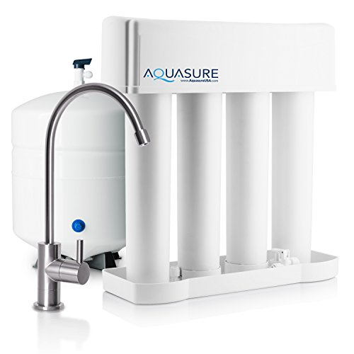 Aquasure Premier Advanced 75 GPD Reverse Osmosis Water Filtration System with Quick Change Water Filter (Brushed Nickel Finished Designer Faucet) (75 Filtration)