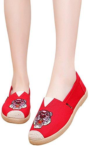 Scarpe Satuki Ricamate Per Donna, Scarpe Basse Fannulloni Casuali Stile Slip-on In Stile Cinese