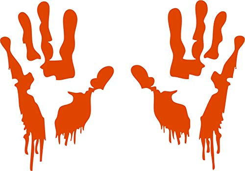 Family Connections Bloody Hand Print ~ Orange ~ Outdoor Halloween/Window / Wall/Craft Decal with Alcohol PAD~ Size 11.44