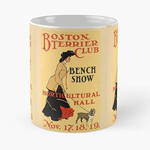 (Boston Terrier Dog Show Vintage Poster Antique - Morning Coffee Mug Ceramic Novelty Holiday 11 Oz)