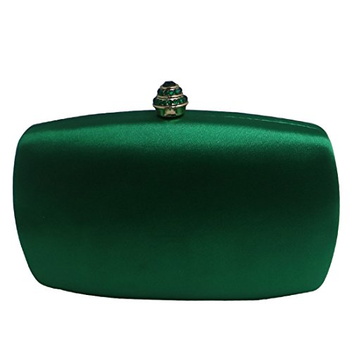 - DMIX Womens Satin Silk Hard Case Box Clutch Evening Bags Dark Green