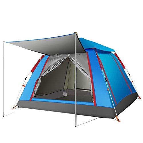 夕暮れマウント風邪をひくテントアウトドア自動1ベッドルーム3~4人防水屋外キャンプビッグテント (色 : 青)