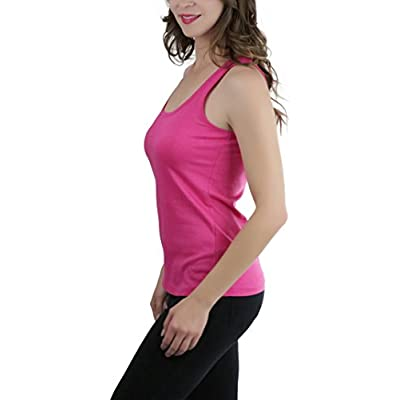 ToBeInStyle Women's Scalloped Neck Trim Tank Top at  Women's Clothing store