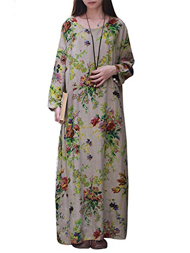 ton Vintage Floral Print Plus Size Long Dress Loose Long Sleeve Maxi Dress with Side Pockets Grey L (Kaftan Long Sleeve)