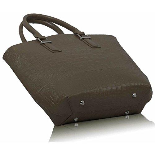 TrendStar mujeres bolsos de mano para mujer elegante ORT.K7051-Petate Style Design-Funda de piel sintética con diseño piel de cocodrilo Beige - Nude
