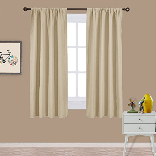 NICETOWN Room Darkening Curtains for Bedroom - Triple Weave Home Decoration Thermal Insulated Solid Drapes / Draperies for Kitchen (Set of 2 Panels,42 x 63 Inch,Beige)