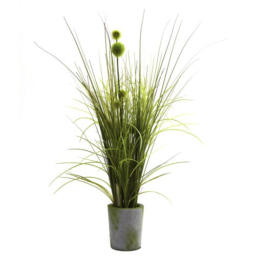 (Nearly Natural 4975 Grass and Dandelion with Cement Planter, Green)
