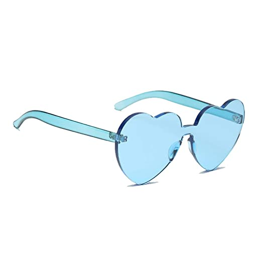 66b54b5233 Amazon.com  Meyison Playful Heart Shape Rimless Sunglasses
